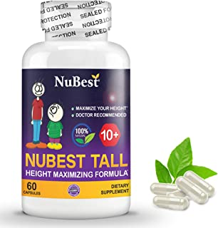 Maximum Natural Height Growth Formula - NuBest Tall 10+ - Herbal Peak Height Pills - Grow Taller Supplements - 60 Capsules...