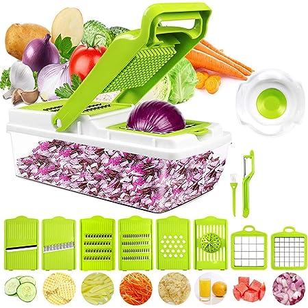 HebyTinco Mandoline De Cuisine Professionnelle, Mandoline Professionnelle Cuisine avec 7 Lames en Remplaçables, Coupe-Légumes Multifonction pour Trancher, Couper et Râper Les Légumes