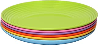 Melange 6-Piece  Melamine Dinner Plate Set (Solids Collection ) | Shatter-Proof and Chip-Resistant Melamine Dinner Plates | Color: Multicolor