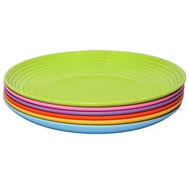 Melange 6-Piece  Melamine Dinner Plate Set (Solids Collection ) | Shatter-Proof and Chip-Resistant Melamine Dinner Plates | Color: Multicolor