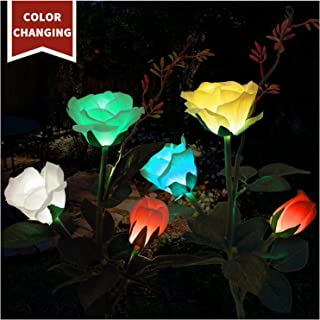 TONULAX Solar Garden Lights - 2 Pack Upgraded Solar Lights Outdoor, Color Changing Rose Lights for Yard,Garden Decoration, Enlarged Solar Panel, Realistic Flower(Yellow and White) (Fabric)