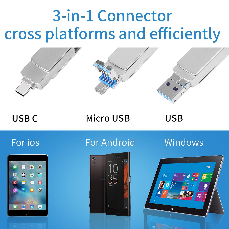 Memoria USB 64GB Tipo C y OTG Pendrive USB 3.0 Impermeable Memoria Flash Drive 3 en 1 para Movíl/PC/Notebook/Smart TV: Amazon.es: Electrónica
