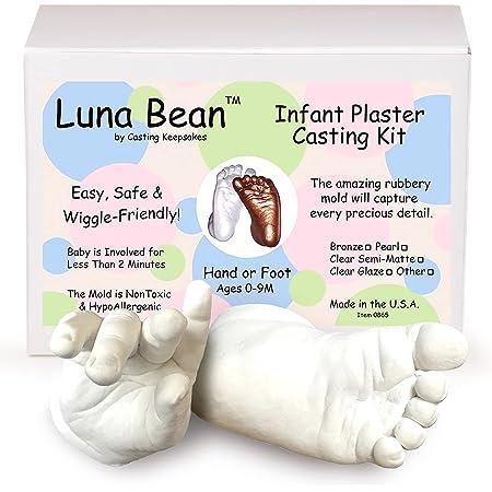 Luna Bean Baby Keepsake Hand Casting Kit - Plaster Hand Mold Casting Kit for Infant Hand & Foot Mold - Baby Casting Kit for First Birthday, Christmas & Newborn Gifts - (Pearl Finish)