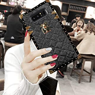 KAPADSON for Samsung Galaxy s9 Plus Newest Diamond Skin Design TPU+ PU Leather Gold Square Corner Protection Back Case with Strap - Black