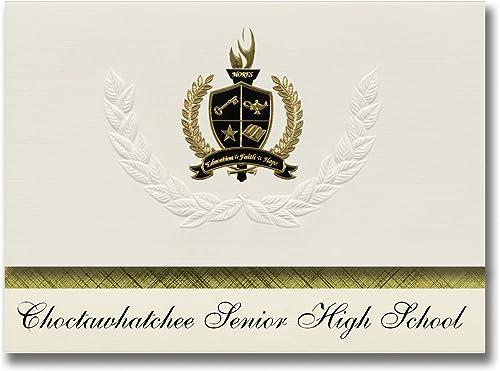 Signature-Ankündigungen Choctawhatchee Senior High School (Fort Walton Beach, FL) Abschlussankündigungen, Pr dentialit  Basic Pack 25 mit Goldfarbenen und Schwarzn metallischen Folienversiegelung
