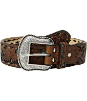 Floral Embossed Turquoise Inlay Belt