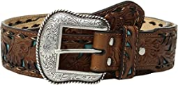 M&F Western - Floral Embossed Turquoise Inlay Belt
