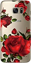 S7 Edge Case, Galaxy S7 Edge Case, JAHOLAN Girl Floral Clear TPU Soft Bumper Slim Flexible Silicone Cover Phone Case for Samsung Galaxy S7 Edge - Beautiful Red Rose