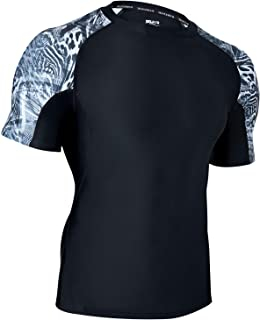 HUGE SPORTS Mens Rash Vest- UPF 50+ Rash Guard Short Sleeve Quick Drying Wetsuit Swimming Topsfor Surfing BJJ Jiu Jitsu