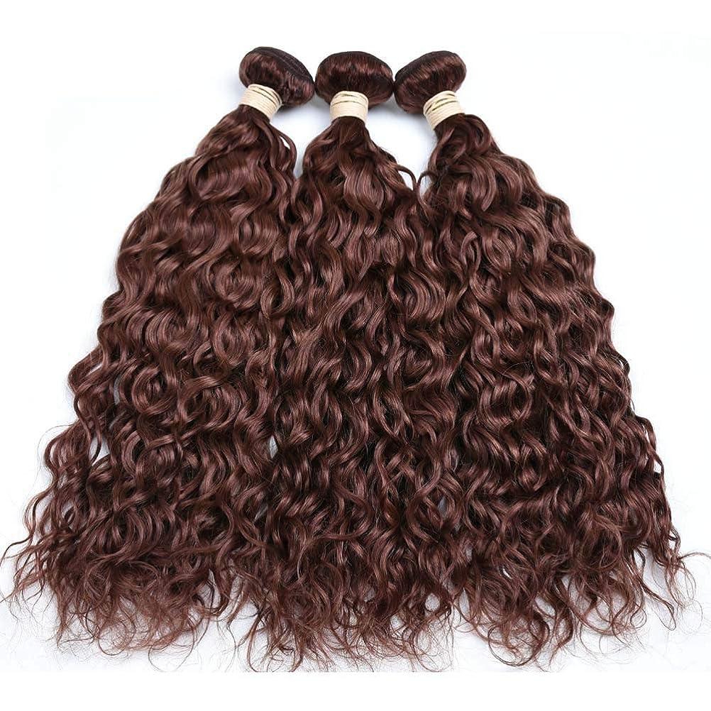収穫直接市民権Yrattary ブラジルの髪の束ブラジルの水の波100%未処理の本物の人間の髪の毛#33ブラウン色(8