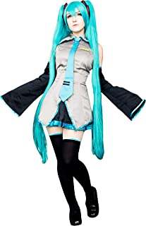 DAZCOS Adult US Size Print Oversleeves Miku Halloween Cosplay Costume with Socks