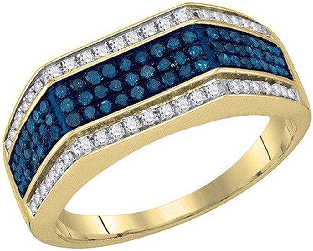 Dazzlingrock Collection 0.80 Carat (ctw) 14K Gold Round White & Blue Diamond Men's Micro Pave Right Hand Fashion Ring 3/4 CT