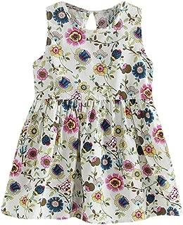 BEAUTYVAN Flower Sleeveless Dress,Toddler Baby Kids Girls Summer Princess Party Wedding Dress