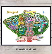Disneyland Map Art Print - Vintage Wall Art Poster - Chic Home Decor for Girls, Boys, or Kids Room, Bedroom, Family or Game Room, Den - Gift for Disney and Mickey Mouse Fans - 8x10 Photo- Unframed