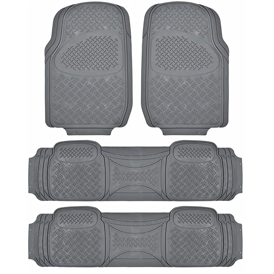 BDK Heavy Duty VAN SUV Rubber Floor Mats - 4 Pieces 3 Rows Full Set- All Weather Trimmable Mat (Gray)