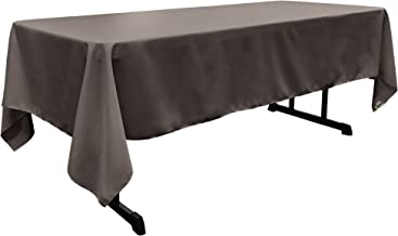 LA Linen Polyester Poplin Rectangular Tablecloth, 60 by 102-Inch, Charcoal