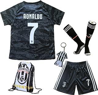 GamesDur 2019/2020 Cristiano Ronaldo #7 Away Football Soccer Kids Jersey & Short & Sock & Soccer Bag Youth Sizes