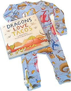 Books to Bed Dragons Love Tacos Long John Pajamas & Book Set