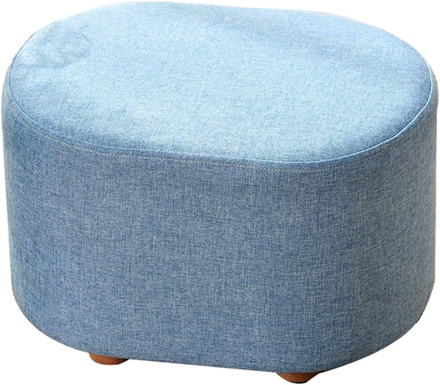 WEIYV-Barstools,bar chair Low Stool Sitting Stool Change shoes Bench Sofa Stool Footstool Cloth Solid Wood Simple Modern Living Room Creative Short Man Small Stool ( color   bluee , Size   403027cm )
