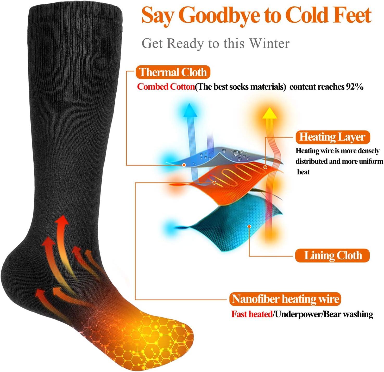 elektrische beheizte Socken Beheizte Socken f/ür M/änner und Frauen batteriebetriebene Socken f/ür Camping//Angeln//Radfahren//Motorradfahren//Skifahren