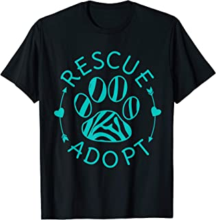 Rescue Adopt Animal Lover Love Cats Dogs Paw Print T-Shirt