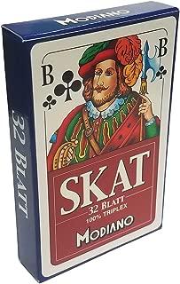 Modiano Skat Deck 32 Playing Cards Triplex Paper Blue Blu German Game