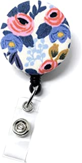 Carolina Street Retractable Badge Reel, Alligator Clip, 32in Nylon Cord, Medical MD RN Nurse Badge ID, Badge Holder, ID Holder, Office Employee Name Badge (Periwinkle Rosa Floral)