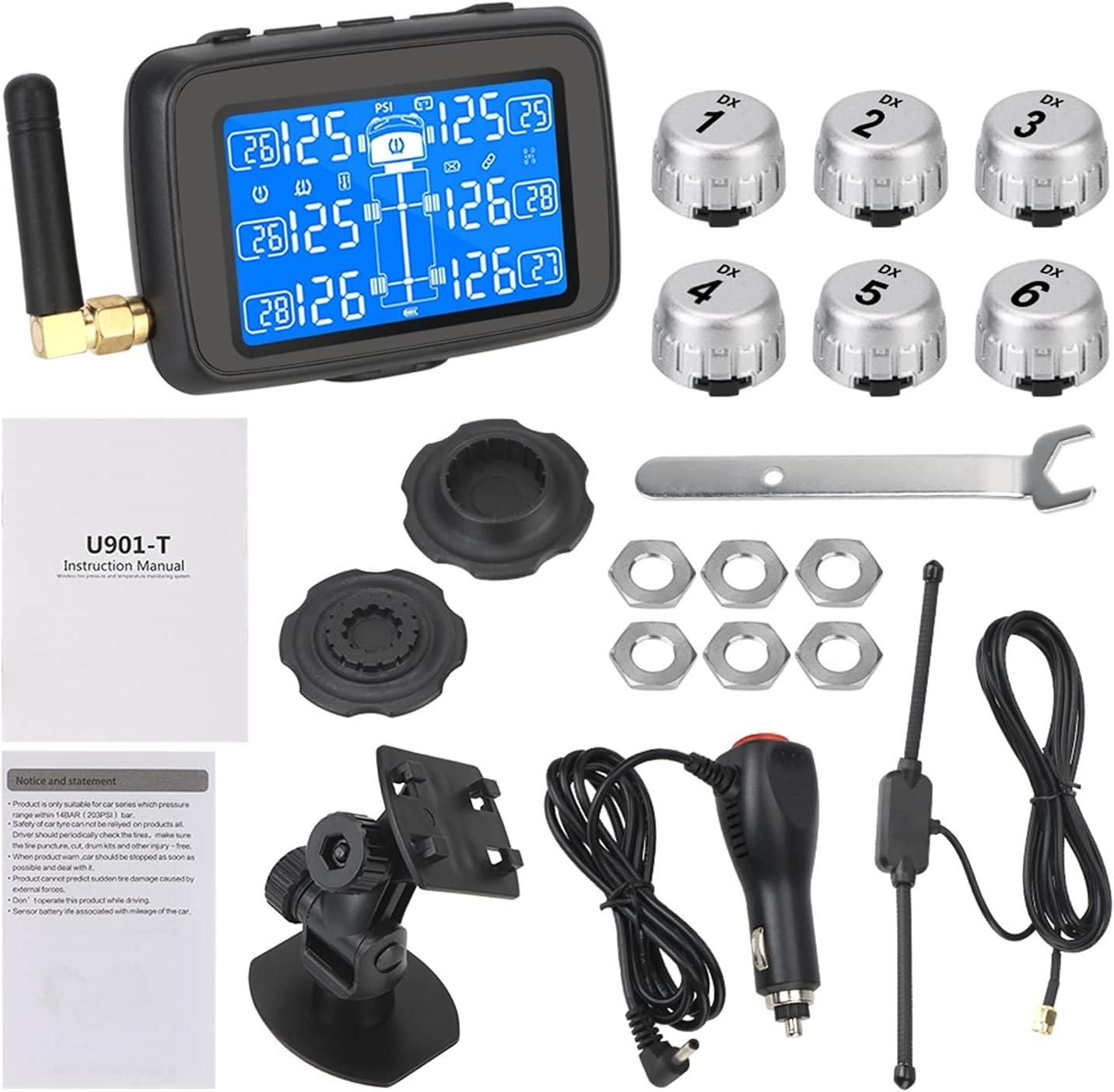 Sistema de monitoreo de presión de neumáticos Camión automático TPMS DE AUTOBUS Digital LCD Mostrar el sistema de monitoreo de presión inalámbrico de la pantalla del automóvil Batería reemplazable con