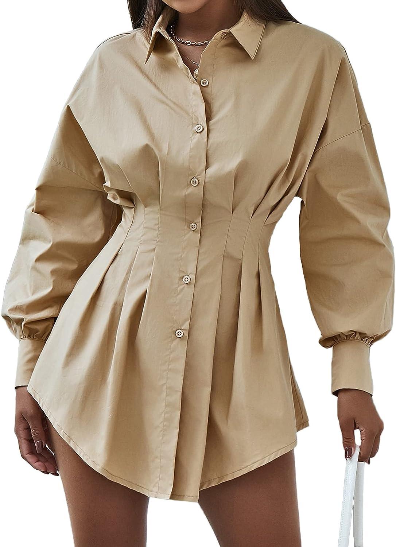 WAYMODE Women's Button Down Collar Long Sleeve Pleated Ruched Waist Blouse Shirt