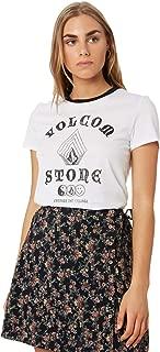Volcom Women's Stoked On Stone Tee Crew Neck Short Sleeve Cotton Soft White