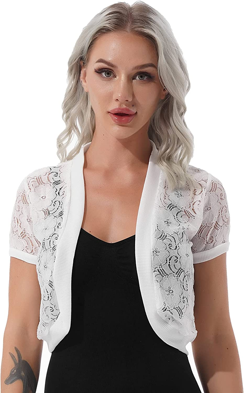 renvena Women's Flower Pattern Cardigan Short Sleeve Open Front Bolero Shrug for Wedding Evening Dresses