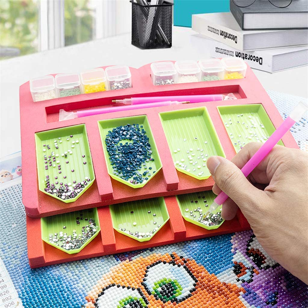 4 Slots Tray-1 Diamond Painting Tools Kits Multi-Batch Ideal Gift for Craft Arts Diamond Painting Accessories Tray Organizer for Adults Multi-Boat Holder for Tray Square Bead Storage Containers