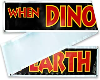 "Jurassic Park Banner Sign Replica Prop - Jurassic Park/World Movie Fan Props -Toys - Games - Shirts. 3 Sizes: 10 Ft, 20 Ft or 30 Ft :""When Dinosaurs Ruled The Earth"""