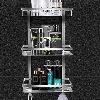 WANYD No es Necesario perforar el Estante de Ducha de EsquinaEstante de baño no Perforado Estante de ángulo Recto de Tre...