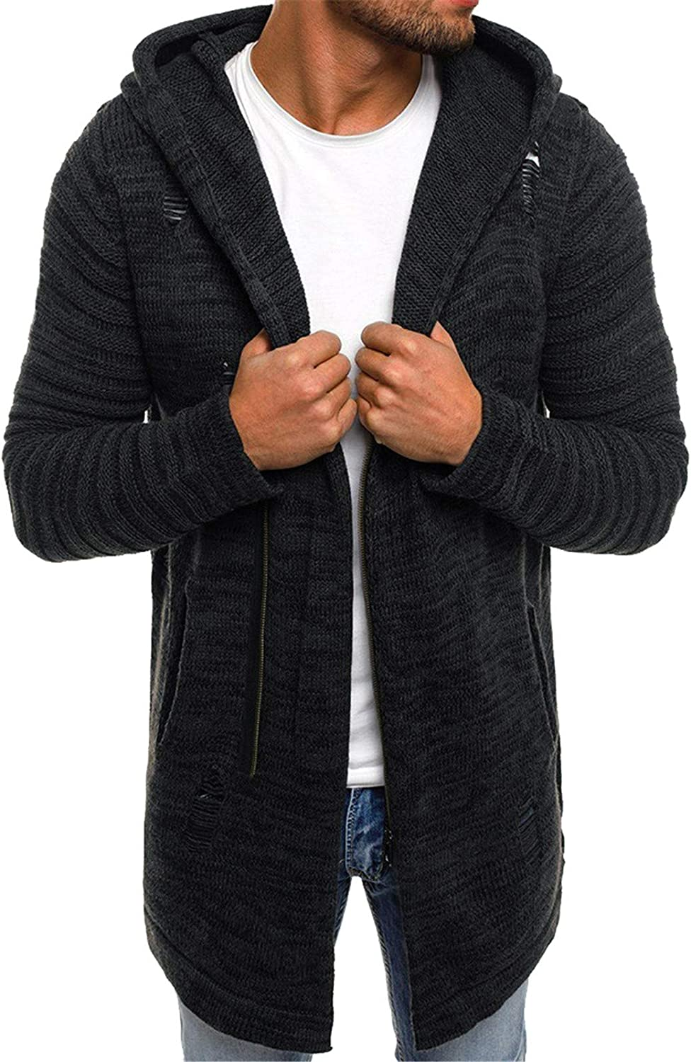Men Hooded OFFer Cardigan Autumn Winter Ranking TOP1 Spacious Warm Patchwork Long S