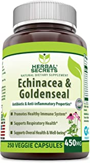 Herbal Secrets Echinacea & Goldenseal Root 450 Mg Capsules (Non-GMO) -Supports Immune and Respiratory Response* Supports M...