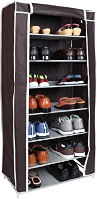 WowObjects 7 Layers Portable Multi-Utility DIY Foldable Storage Shoe Rack For Home(Brown)