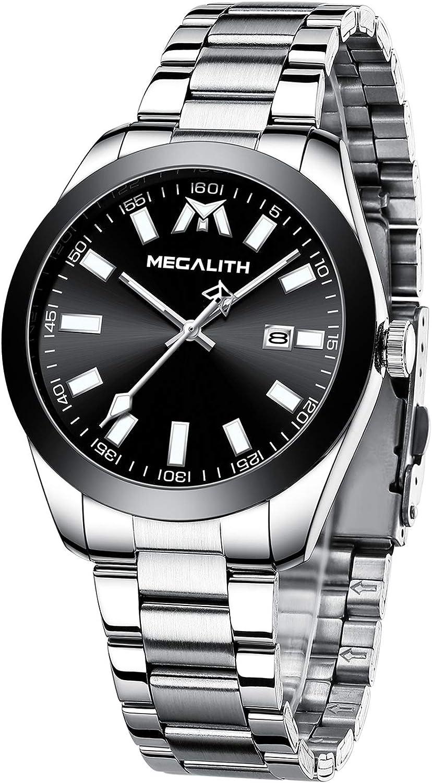 MEGALITH Reloj Hombre Deportivos Relojes Hombre Acero Inoxidable Reloj de Pulsera Impermeable Cuarzo Analógico Negocios Clásico Elegante