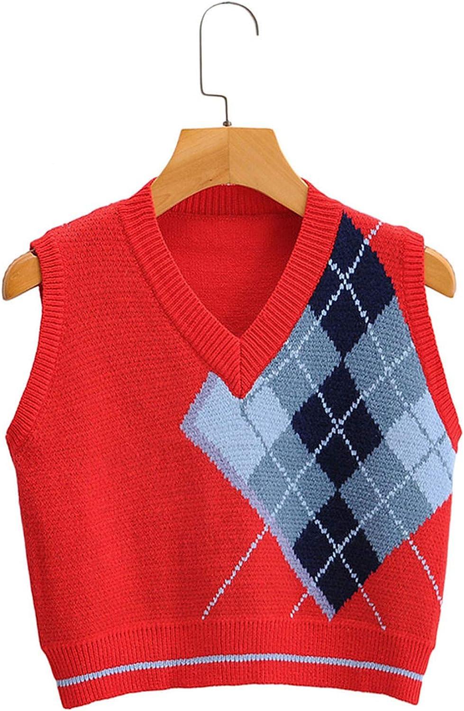 Women Fashion red Knitted Cropped Vest Sweater Stylish Sleeveless Female Waistcoat Tops