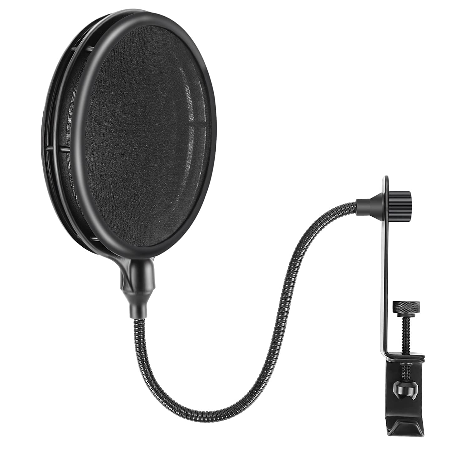 Neewer NW-019 Dual Layer Microphone Pop Filter with Flexible Gooseneck Extendable Metal Clamp Arm, Soft Nylon Filter for USB, Dynamic, Ribbon Microphones Like Blue Yeti Blue Spark Snowball Samson C01U