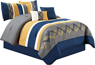 Chezmoi Collection Arden by 7 Pieces Modern Pleated Stripe Embroidered Zigzag Bedding Comforter Set (Full, Navy/Gray/Yellow/Off-White)