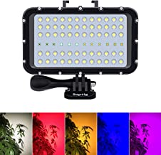 Suptig Video Lighting Dive Light Underwater Lights 72 Led Lights Compatible for Gopro Canon Nikon Pentax Panasonic Sony Samsung SLR Cameras 5 Kinds of Illuminating Colors Waterproof 147ft(45m)