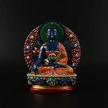 PPCP 12cm Pharmacist Resin Buddha Figurine, Bodhisattva Delicate Hand Blue Plated Buddhist Tibetan Medicine Figure Buddha ...