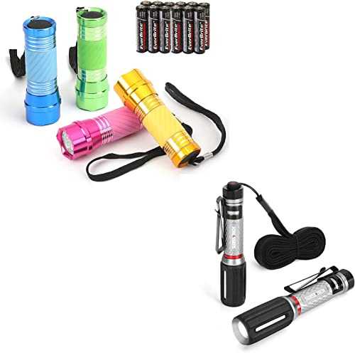 EverBrite 4-Pack Mini LED Aluminum Flashlight and Swiss+Tech IPX7 Mini Aluminum Flashlight