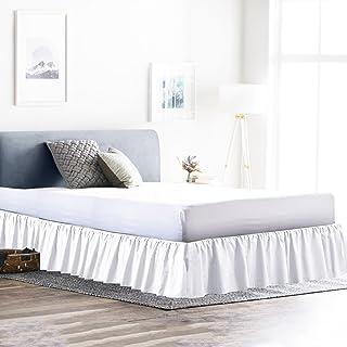 Rajlinen - Cubrecanapé con volantes de polialgodón, fácil de ajustar, que cubre la base del somier y 3 lados de la cama