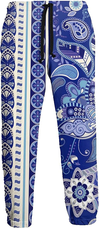 Men's Jogger Sweatpants Blue Flower Figure 3D Loose Joggers Pants with Drawstring Long Pants
