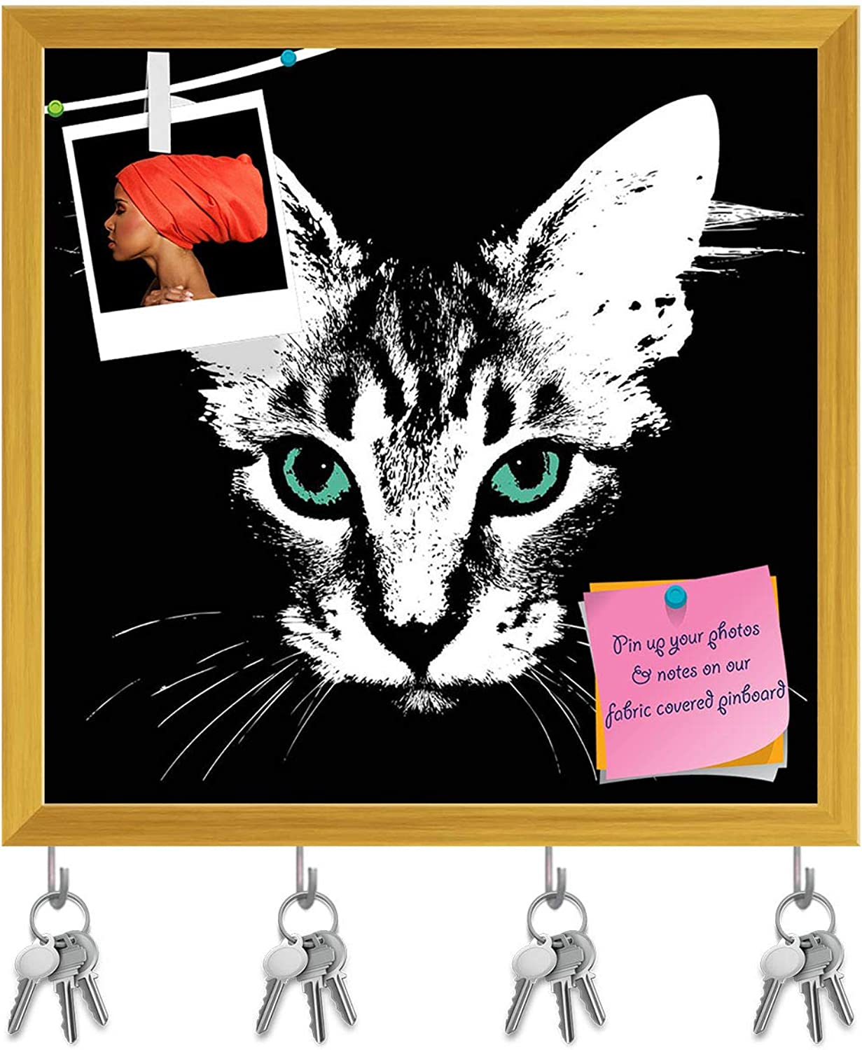 Artzfolio Head of A Cat with Green Eyes Key Holder Hooks   Notice Pin Board   golden Frame 16.4 X 16Inch