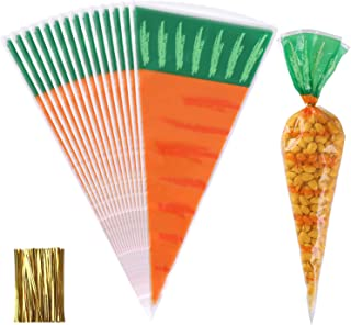 Sunshane 160 Pieces Easter Carrot Cone Candy Bag Cellophane Bags Treat Bag Cookies Bags with Twist Ties for Easter Party Supplies