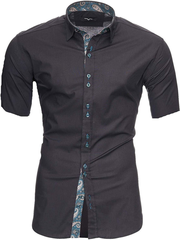 Kayhan Camisas Hombres Camisa Hombre Manga Corta Ropa Camisas de Vestir Slim fácil de Hierro Fit SML XL XXL-6XL Modello Royal