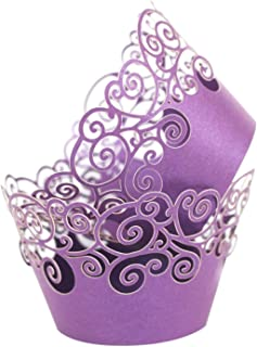 KEIVA Cupcake Wrappers 60 Filigree Artistic Bake Cake Paper Cups Little Vine Lace Laser Cut Liner Baking Cup Muffin Case Trays for Wedding Party Birthday Decoration (Purple)